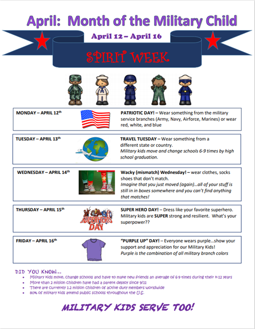 Month of the Military Child Spirit Week