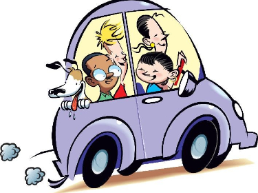 Carpool clip art of car driving group of children