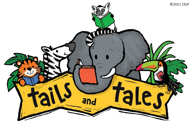 "Theme ""Tails and Tales"" with animals and books"