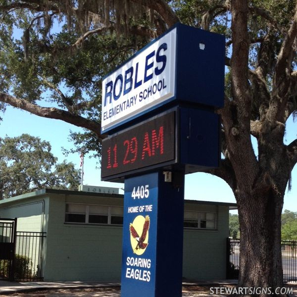 Robles Elementary School sign Home of the Soaring Eagles